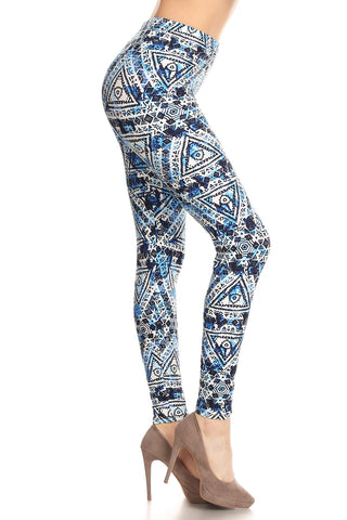 Women's Plus Blue Geo Tribal Indian Theme Printed Leggings