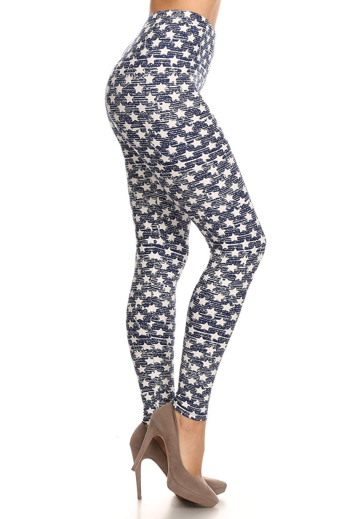 Women's Plus White Little Stars Faded Pattern Printed Leggings