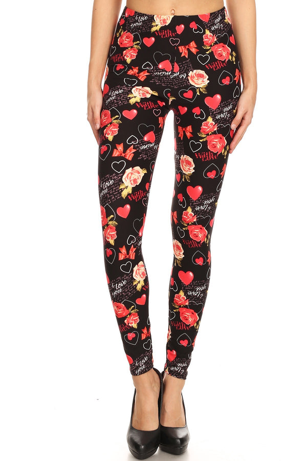 Women's Regular Valentine Theme Pattern Printed Leggings