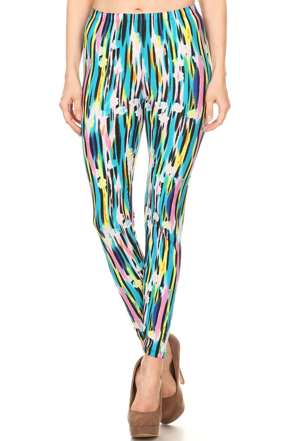 Women's Regular Abstract Paint Lines Pattern Printed Leggings - Blue Yellow