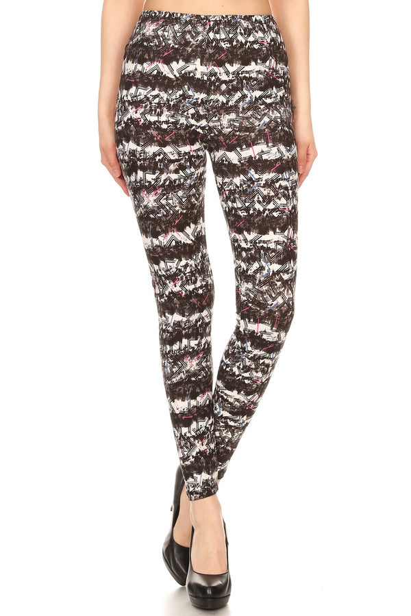 Women's Regular Abstract Chevron Pattern Printed Leggings