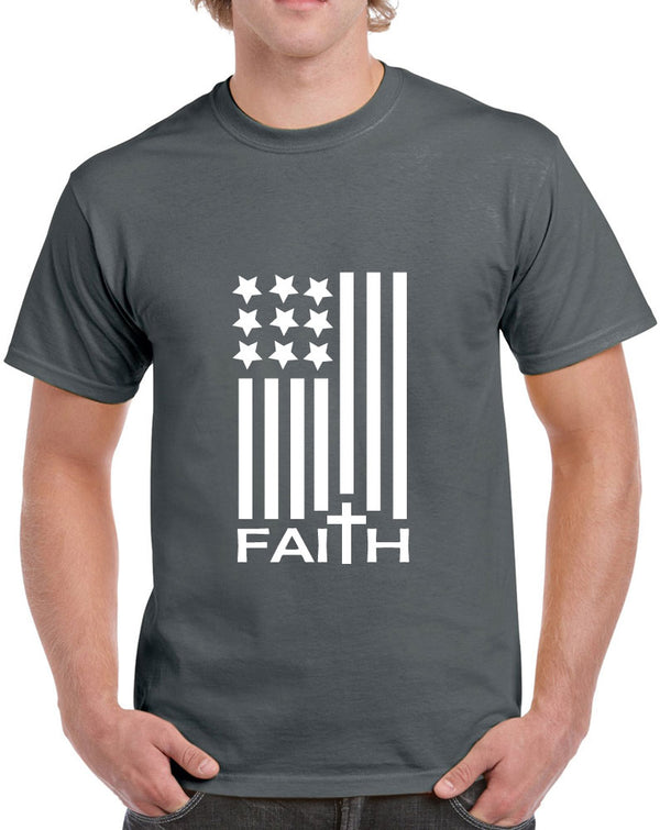 American Flag with Faith Design Heavy Cotton Classic Fit Round Neck Short Sleeve T-Shirts – S ~ 3XL