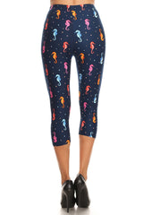Women's Plus Sea Horses Bubbles Undersea Printed Cropped Capri Leggings