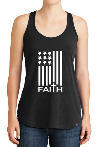 Women's American Flag with Faith Design Graphic New Era Heritage Blend Racerback Tank Tops for Regular and Plus - XS ~ 4XL