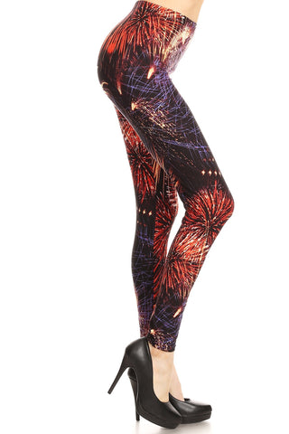 Women's Plus colorful Fireworks Pattern Printed Leggings - Red Purple