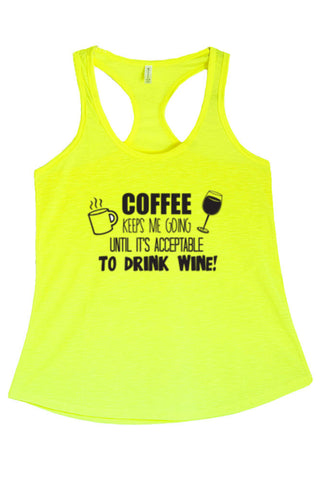 Women's Coffee Keeps Me Going Graphic Print Polyester Tank Tops for Regular and PLUS - Small ~ 3XL