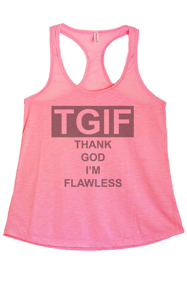 Women's PLUS Thank God I'm Flawless Graphic Print Polyester Tank Top
