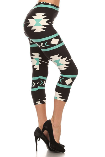 Women's Regular American Indian Aztec Pattern Print Capri Leggings
