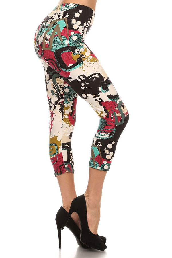 Women's Regular Artistic Brush Paint Pattern Print Capri Leggings - Black Sky White