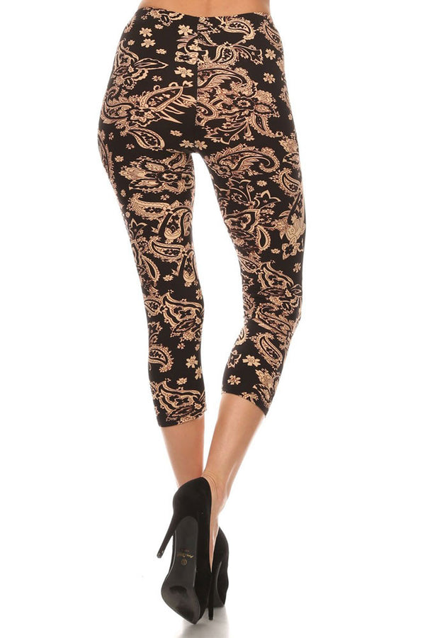 Women's Regular Taupe Color Paisley Print Capri Leggings - Black Taupe
