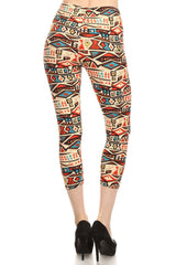 Women's Regular American Indian Vessel Pattern Print Capri Leggings - Red Blue White