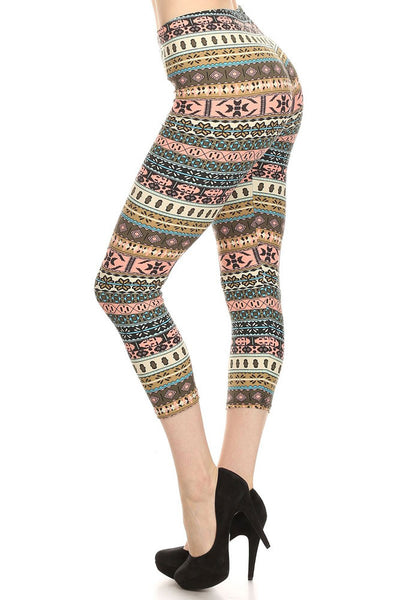 Women's Regular Small Navajo Pattern Print Capri Leggings - Grey Pink Sky