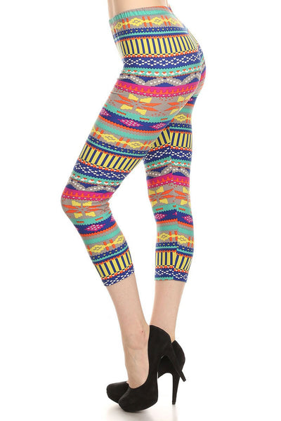 Women's Regular Southwestern Pattern Print Capri Leggings - Blue Fuchsia Grey