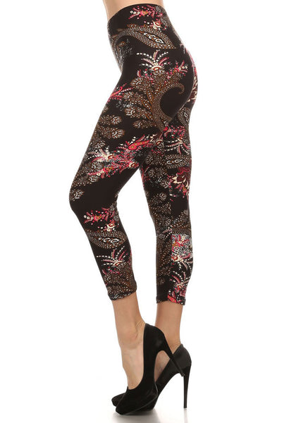 Women's Regular Ornate Big Flower Pattern Print Capri Leggings - Black Pink