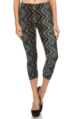 Women's Regular Ornate Sawtooth Pattern Print Capri Leggings - Black Blue