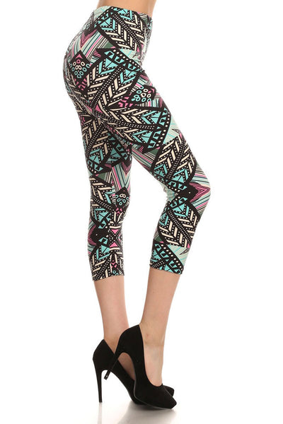 Womens Regular Little Chevron & Striped Print CAPRI Leggings - Black Mint Purple