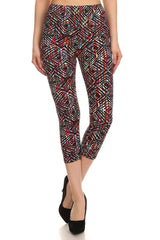 Women's Regular Ornate Diamond Shape Print CAPRI Leggings - Black Red