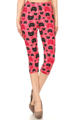 Women's Plus colorful Cat Faces Animal Printed Cropped Capri Leggings