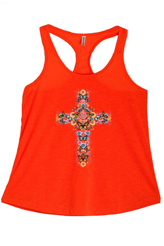 Women's Cross With Flowers And Butterflies Print Polyester Tank Tops for Regular and PLUS - Small ~ 3XL