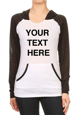 Create Your Own Text – Women's Two Tone Contrast Kangaroo Pocket Hooded Long Sleeve Sweatshirts - Custom Text