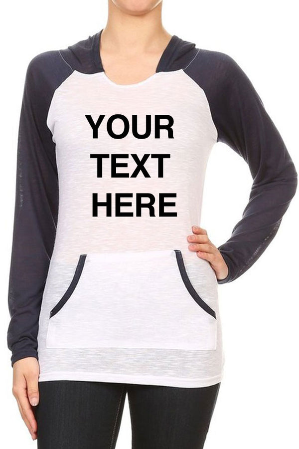Create Your Own Text - Women's Two Tone Contrast Kangaroo Pocket Hooded Long Sleeve Sweatshirts - Custom Text