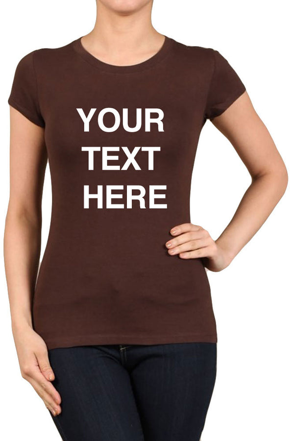 Your Text Here Solid Fitted Round Neck Short Sleeve Tops for Regular and PLUS