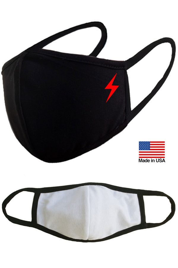 Lightning Symbol Reusable Washable Cotton Face Masks - Made in USA