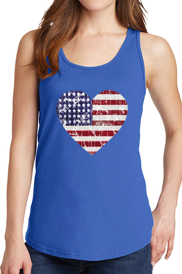 Women's American Distressed Heart Flag Core Cotton Tank Tops -XS~4XL