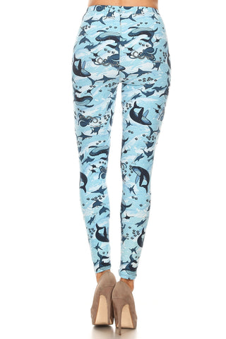 Women's 3X 5X Whale Shark Octopus Pattern Printed Leggings