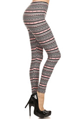 Women's 3 X 5X Grey Pink Small Aztec Shape Pattern Printed Leggings