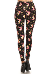 Women's Plus Unicorn Crown Starfish Pattern Printed Leggings