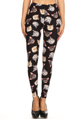Women's 3X 5X Allove Cat Faces Pattern Printed Leggings
