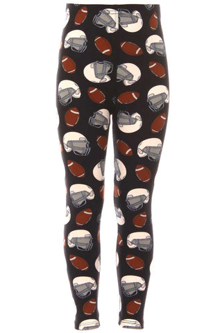 Kid's Colorful Football Helmet Pattern Printed Leggings