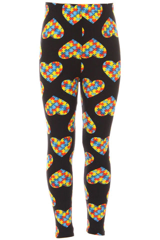 Kid's Colorful Heart Autism Jigsaw Puzzles Pattern Printed Leggings