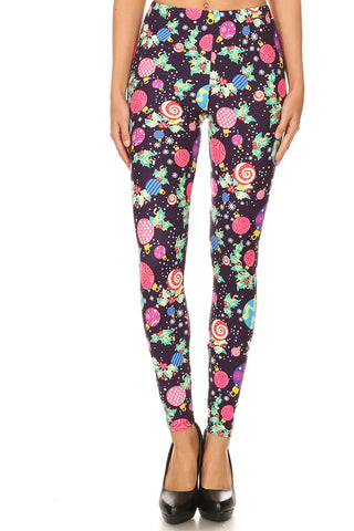 Women's Plus Christmas Ornament Pattern Printed Leggings