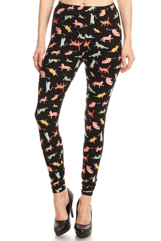 Women's Plus Playful Cats Pattern Printed Leggings