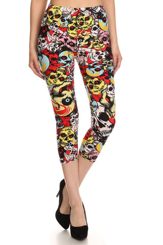 Women's Regular Red Eye Skulls Cropped Printed CAPRI Leggings - Red Yellow