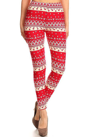 Women's Plus Santa Reindeer Snowflake Chevron Printed Leggings - Red White