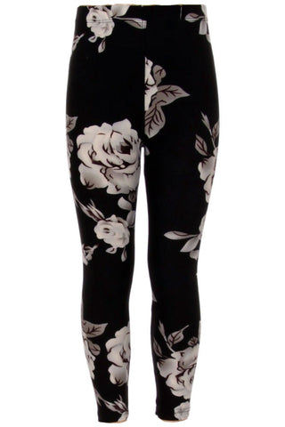 Girls Big White Rose Floral Pattern Print Leggings