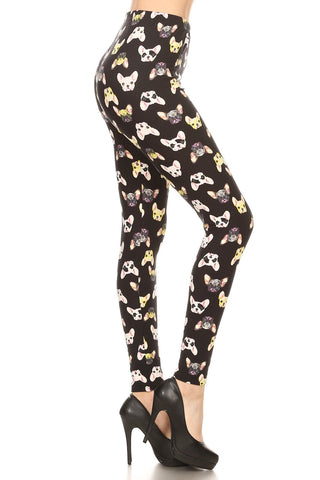 Women's Plus French Bulldog Animal Pattern Printed Leggings