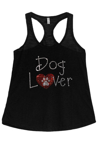Women's Dog Lover Rhinestones Graphic Print Polyester Tank Tops for Regular and PLUS - Small ~ 3XL