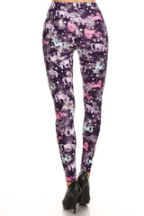 Women's 3X 5X Stars & Unicorns Pattern Printed Leggings