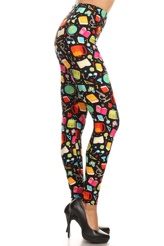 Women's Plus Back to School Pattern Printed Leggings