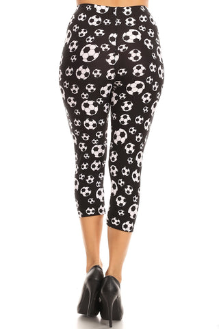 Women's Regular Soccer Ball Sports Printed Cropped Capri Leggings