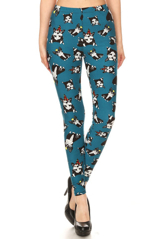 Women's Regular Allover Cartoon Dog Pattern Printed Leggings