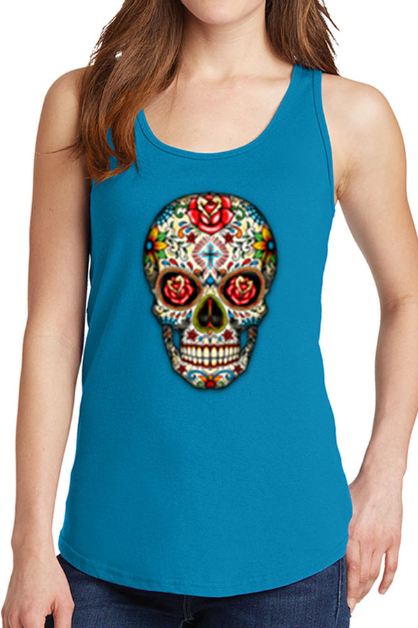 Women's Day of The Dead Skull Core Cotton Tank Tops -XS~4XL