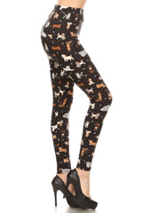 Women's Regular Cute Puppy Dog Pattern Printed Leggings