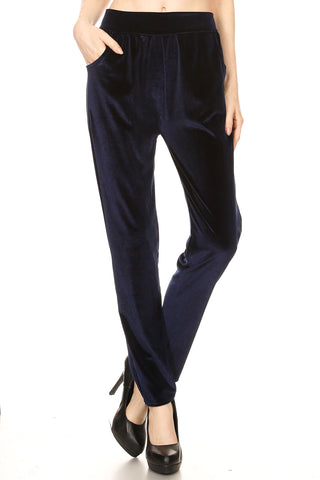 Women's Regular Full Length Velvet Pants with Side Pockets
