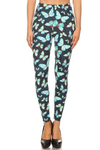 Women's 3X 5X Butterfly Dot Outline Pattern Printed Leggings
