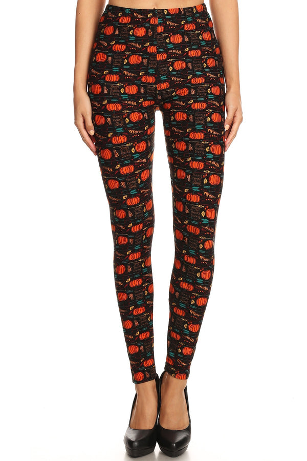 Women's Regular Happy Thanksgiving Pumpkin Pattern Printed Leggings